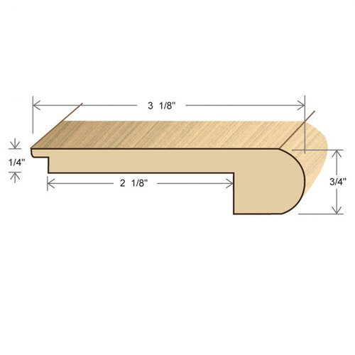 "Moldings Online 0.27"" x 3.13"" Solid Hardwood Elm Stair Nose in Unfinished"