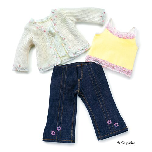 Carpatina American Girl Dolls Cardigan Sweater, Tank Top and Denim Jeans
