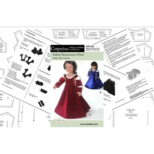 Carpatina Clothes Pattern Doll Italian Renaissance Dress