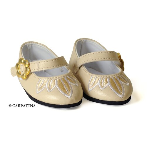 Carpatina American Girl Dolls Petals Cream Leather Shoes