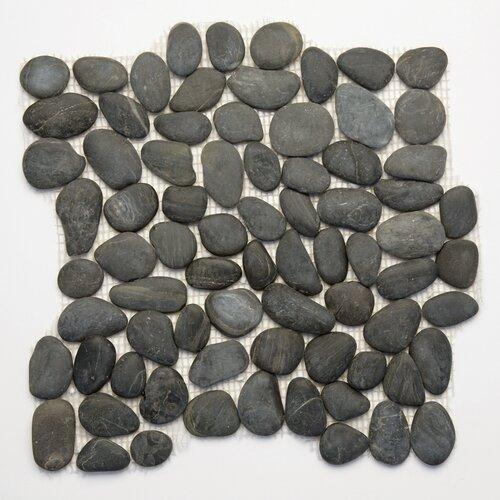 Decorative Pebbles Random Sized Interlocking Mesh Tile in Honed Black Sea