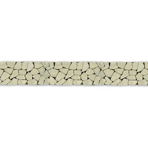 "Solistone Decorative Pebbles 39"" x 4"" Interlocking Border Tile in Green Gobos"