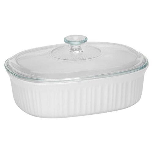 Corningware French White 2.5-qt. Durable Stoneware Oval Casserole