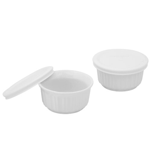Corningware French White Ramekins with Lids (2 Pack)