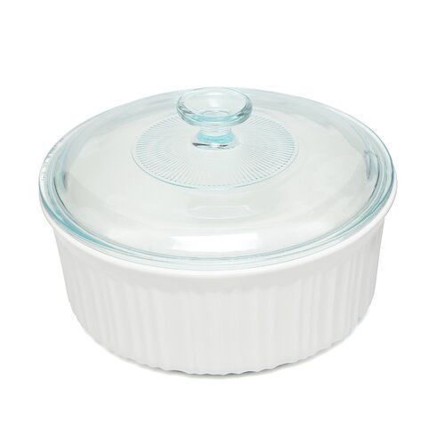 French White 2.5 Qt. Covered Round Dish
