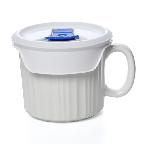 Corningware French White 20 oz. Mug with Vented Plastic Cover
