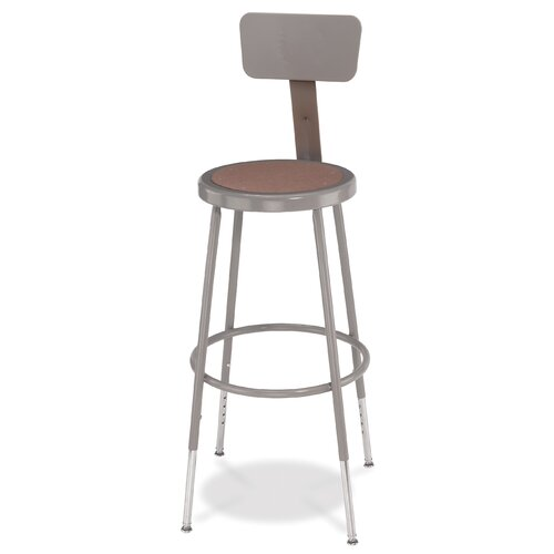 National Public Seating Height Adjustable Stool with Backrest