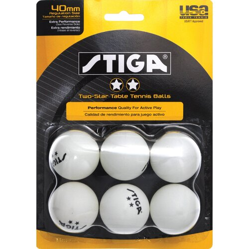 Stiga Two-Star White Table Tennis Ball (Pack of 6)