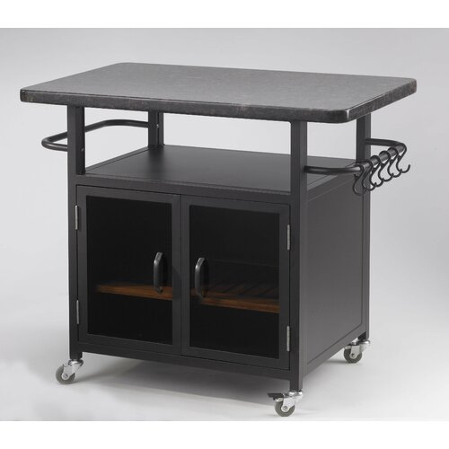 "The Outdoor GreatRoom Company Bistro 24"" Cabinet with 36"" Granite Top and Black Glass Doors"