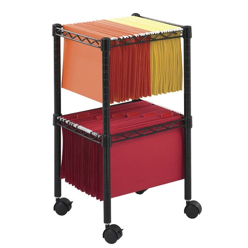 "Safco Products Company 27.5"" Two-Tier Compact Mobile Wire File Cart"