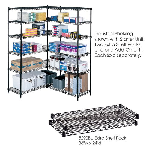 """Safco Products Company Industrial Wire Extra Shelves (36"""" x 24"""" Shelves)"""