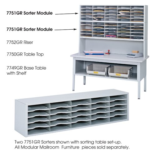 Safco Products Company E-Z Sort Steel Mail Sorter Module, Light Gray Steel