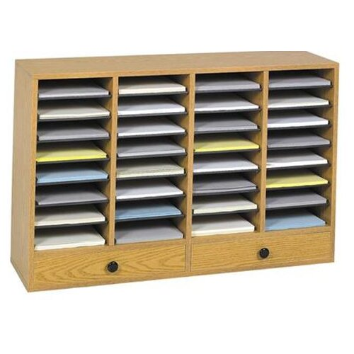Safco Products Company Large Wood Adjustable-Compartment Literature Organizer with Drawers