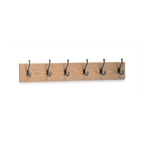 6 Hook Wood Coat Rack (Set of 6)