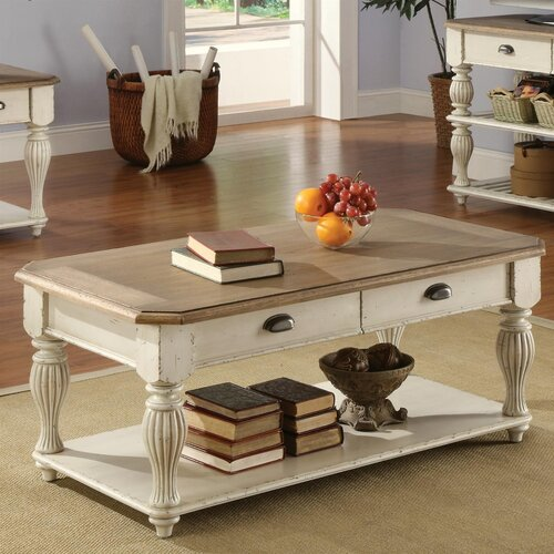 Riverside furniture coventry two tone coffee table for White driftwood coffee table