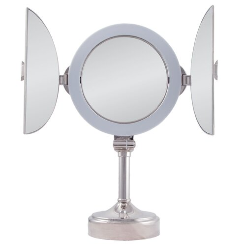 Surround Lighted Tri-Fold Pedestal Vanity Mirror