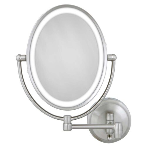 zadro cordless dual led lighted oval wall mount mirror. Black Bedroom Furniture Sets. Home Design Ideas
