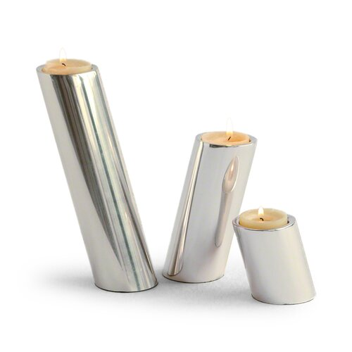 DwellStudio 3 Piece Slanted Nickel Candleholder Set