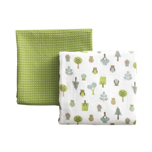 DwellStudio Owls Multi Swaddle Blanket (Set of 2)