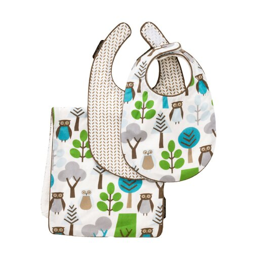 DwellStudio Owls Bib & Burp Set