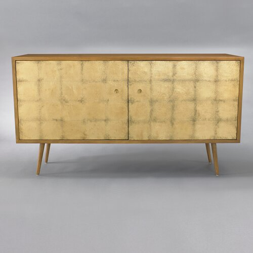 DwellStudio Franklin Media Cabinet in Gold Leaf