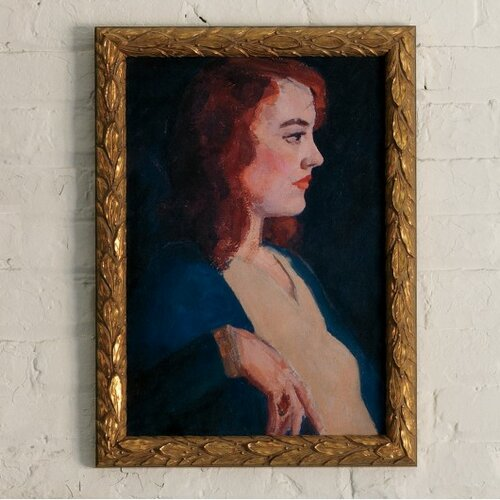 DwellStudio Vintage Lady Red Head Art Work