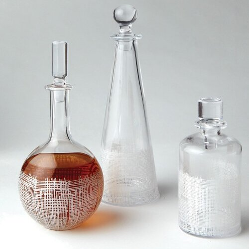 DwellStudio Crosshatch Globe Decanter in White