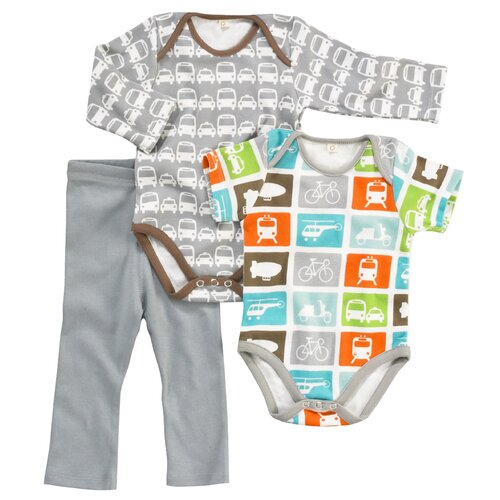 DwellStudio Cars Grey L/S Bodysuit 0-3 Mo.