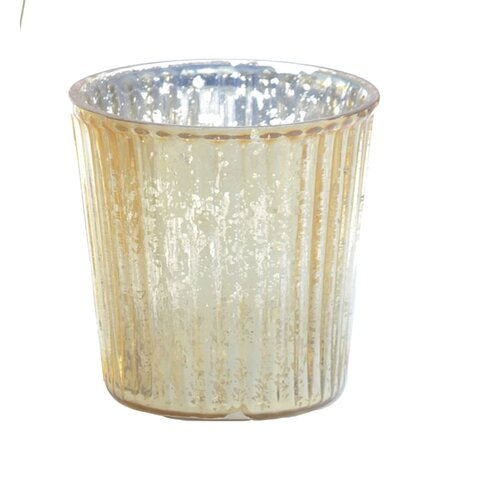 DwellStudio Striped Gold Glass Votive