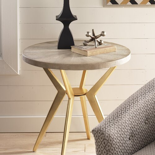 DwellStudio Odin Side Table in Ivory Shagreen