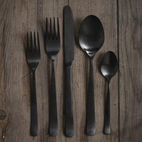 5 Piece Onyx Black Cutlery Set