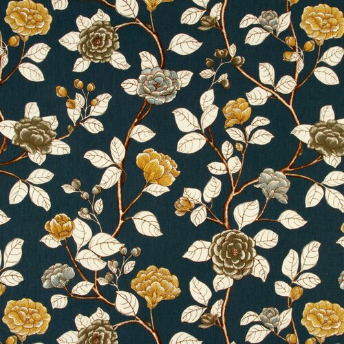 DwellStudio Leda Peony Fabric - Midnight