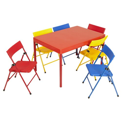 cosco home and office kids 7 piece rectangular table and chair set reviews wayfair. Black Bedroom Furniture Sets. Home Design Ideas