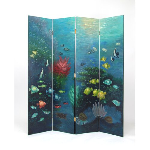 "Wayborn 64"" x 72"" Tropical Fish 4 Panel Room Divider"