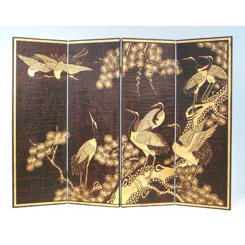 "Wayborn 36"" x 48"" Sepia Crane Scene 4 Panel Room Divider"