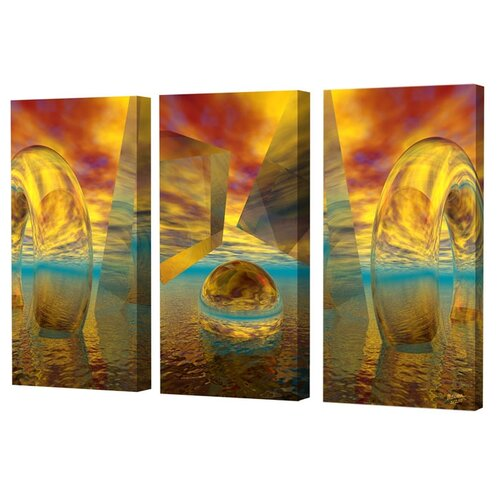 Menaul Fine Art Sunset Triptych Limited Edition by Scott J. Menaul 3 Piece Framed Graphic Art Set
