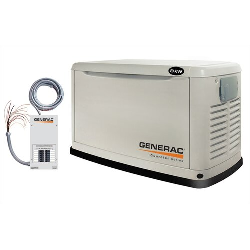 Guardian 8 Kw Liquid-Cooled Single Phase 120/240 V Natural Gas Propane Standby Generator with ...