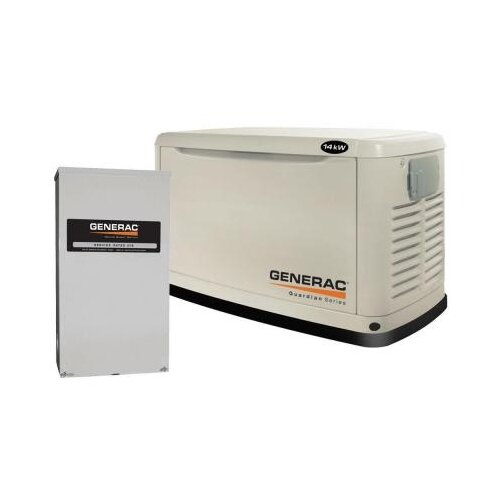 Guardian 14 Kw Air-Cooled Single Phase 120/240 V Natural Gas Propane Standby Generator with ...
