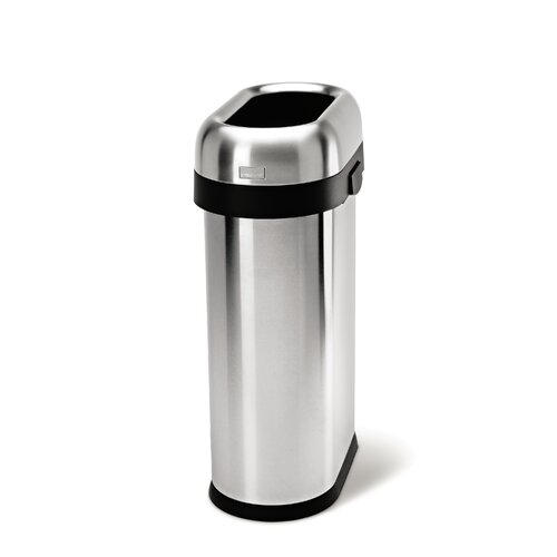 simplehuman 50 l 13 gal slim open trash can commercial grade stainless s. Black Bedroom Furniture Sets. Home Design Ideas