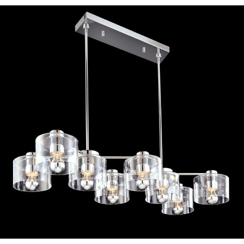 Sonneman Transparence 8 Light Kitchen Island Pendant