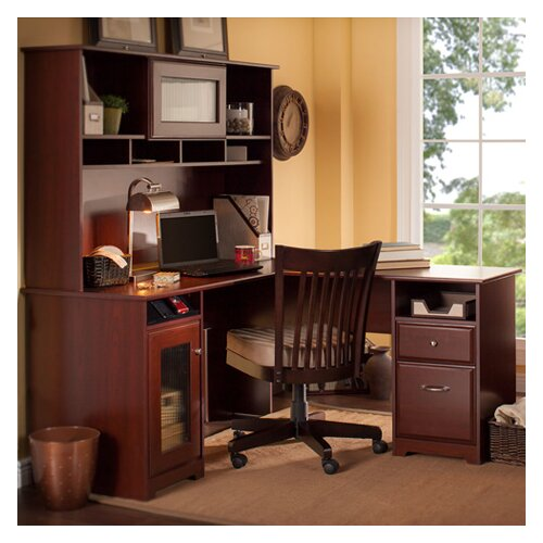 Bush Industries Cabot L-Desk with Hutch and Lateral File