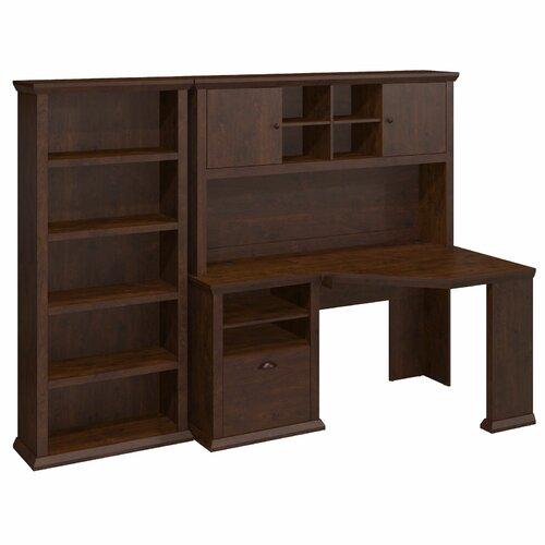 Bush Industries Yorktown Corner Desk with Hutch and Bookcase