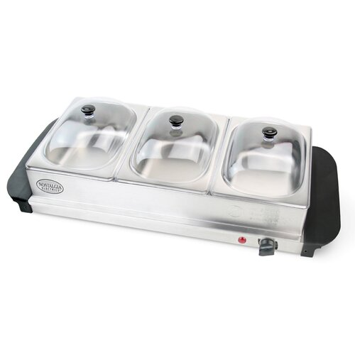 Nostalgia Electrics 3 Section Mini Buffet Server and Warming Tray