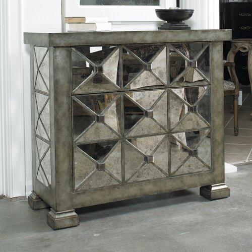 Hooker Furniture Melange Dimentional Mirrored 3 Drawer Chest