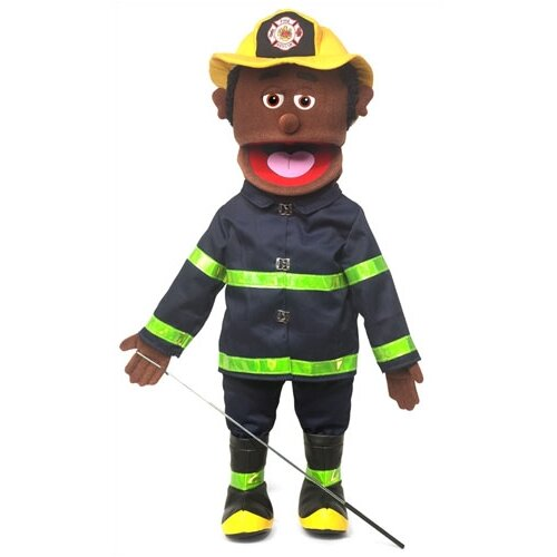 "Silly Puppets 25"" African-American Fireman Full Body Puppet"