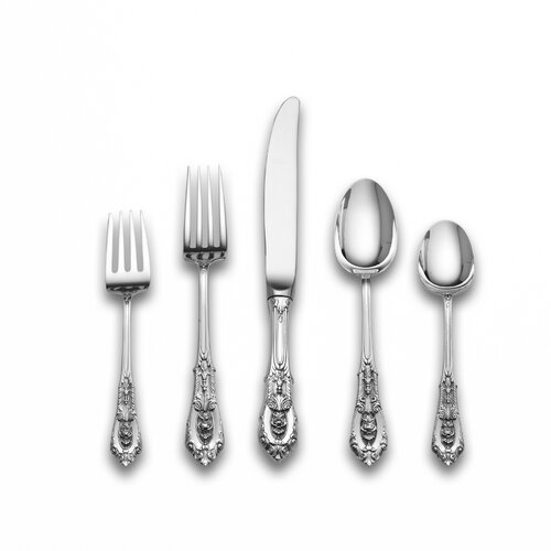 Sterling Silver Rose Point 66 Piece Dinner Flatware Set