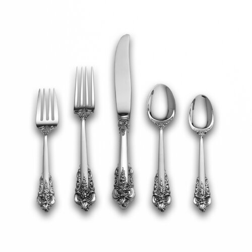 Wallace Sterling Silver Grande Baroque 66 Piece Dinner Flatware Set