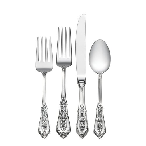Sterling Silver Rose Point 4 Piece Flatware Set