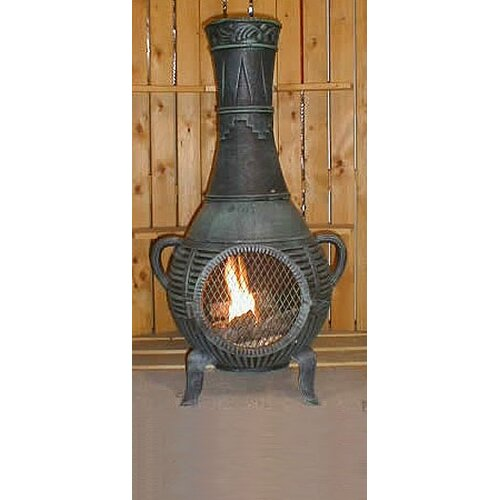 The Blue Rooster Pine Style Chiminea with Gas Kit