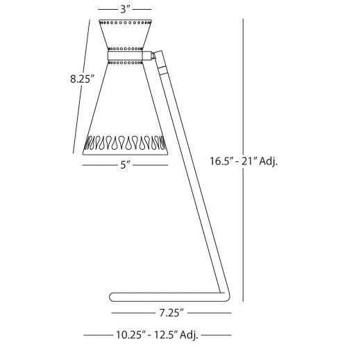 "Robert Abbey Jonathan Adler Havana Task 16.5"" H Adjustable Table Lamp with Empire Shade"